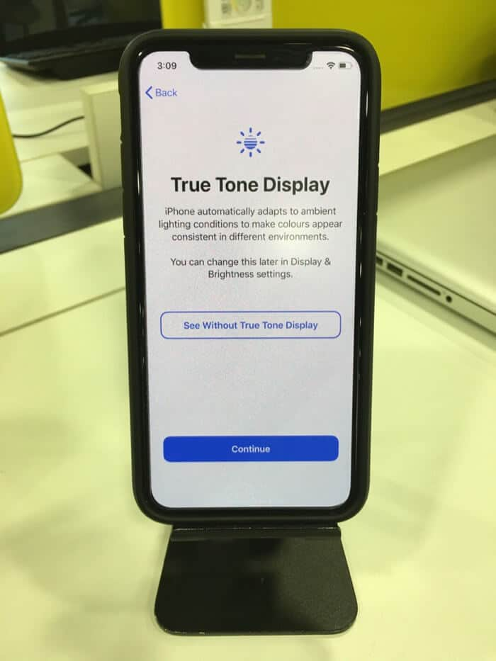 tap on continue to set up true tone display