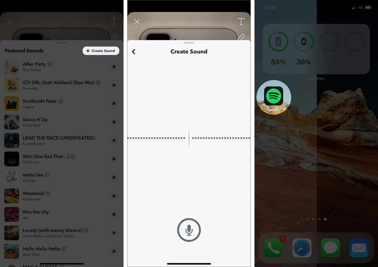 Tap on Create Sound and Then Open Music App on iPhone