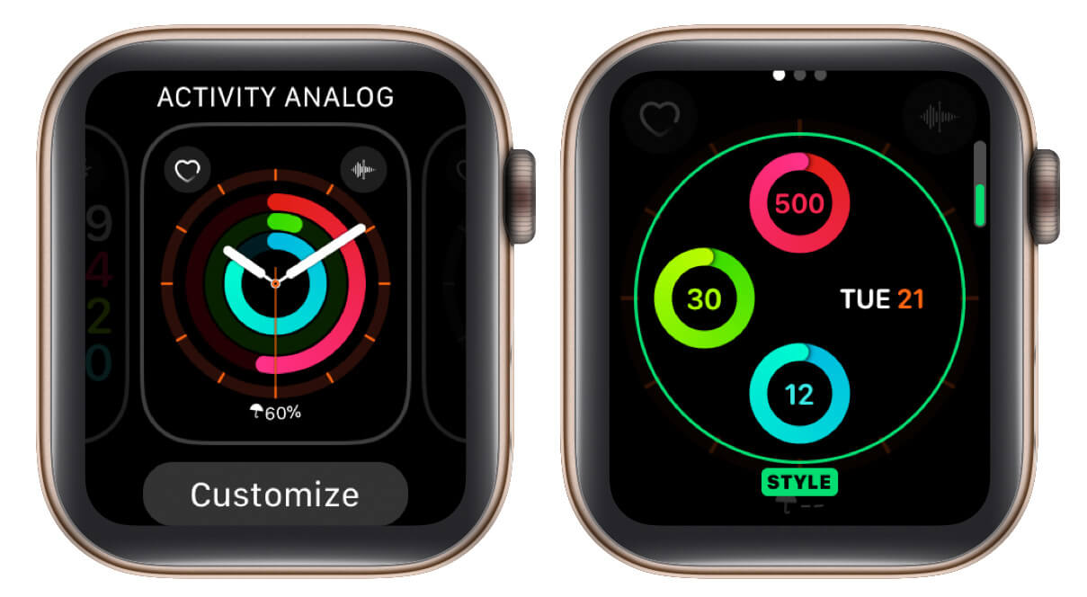 tap on customize and select option to make changes in apple watch face
