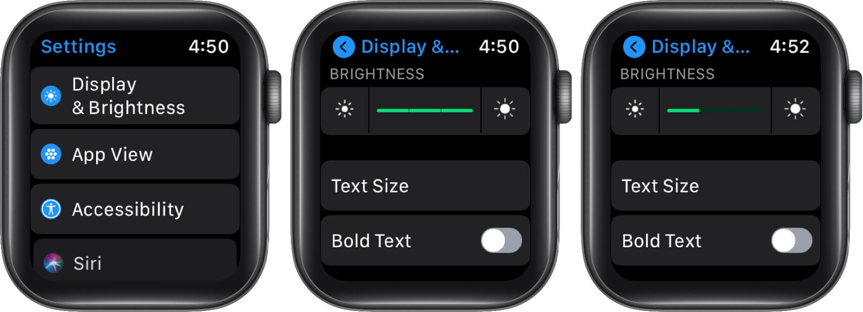 Tap on Display & Brightness and Drag Slider to Lower Brightness of Apple Wach Screen