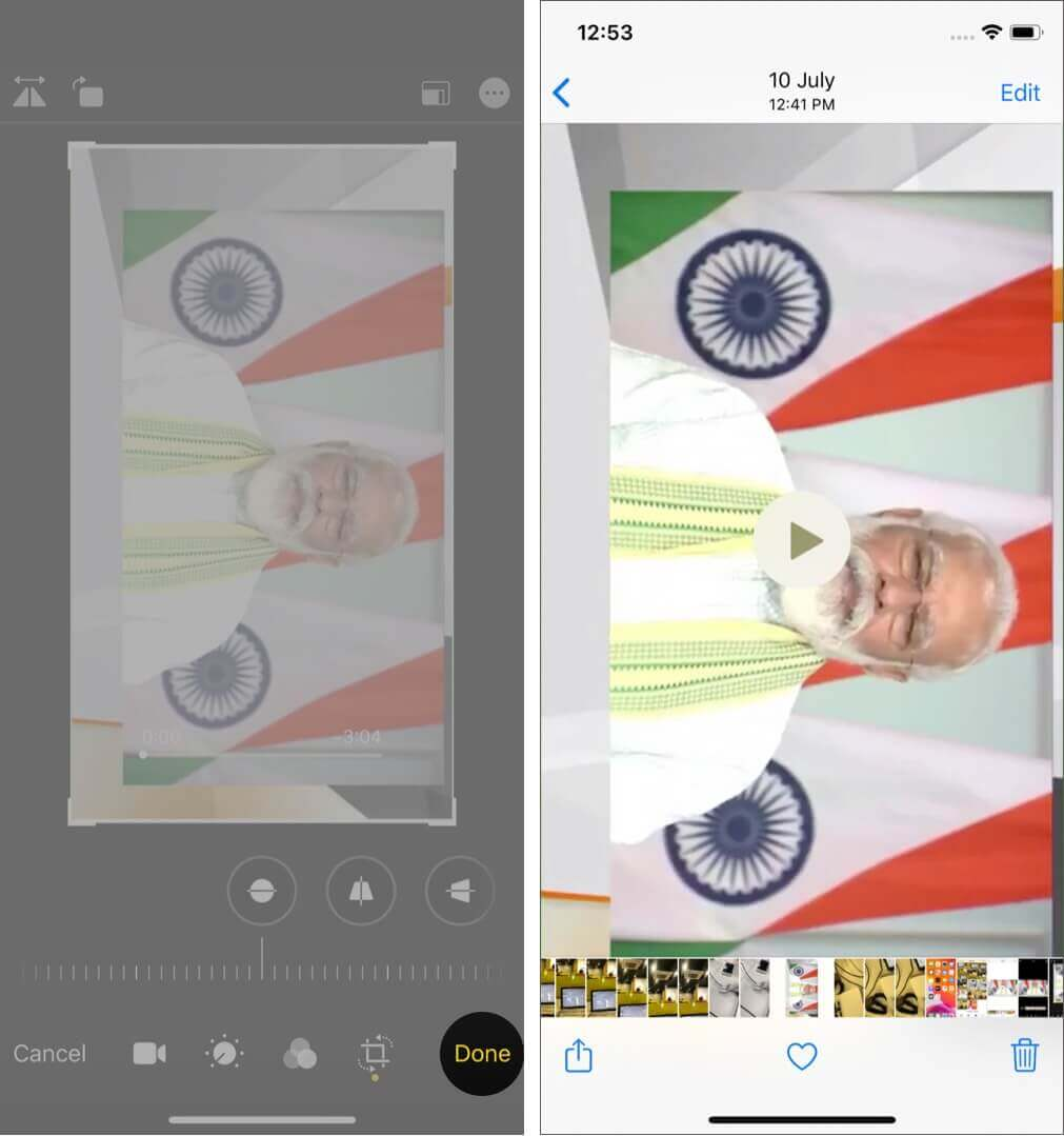 tap on done to rotate a video on iphone running ios 13