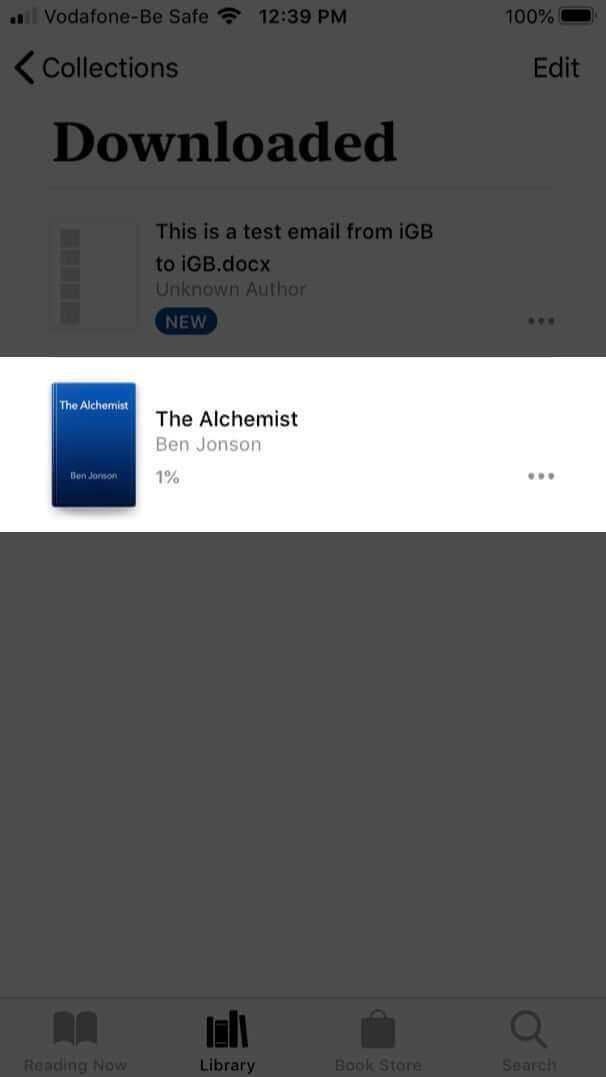 tap on downloaded book to read