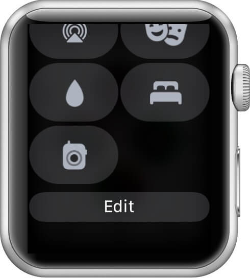tap on edit in control center on Apple Watch