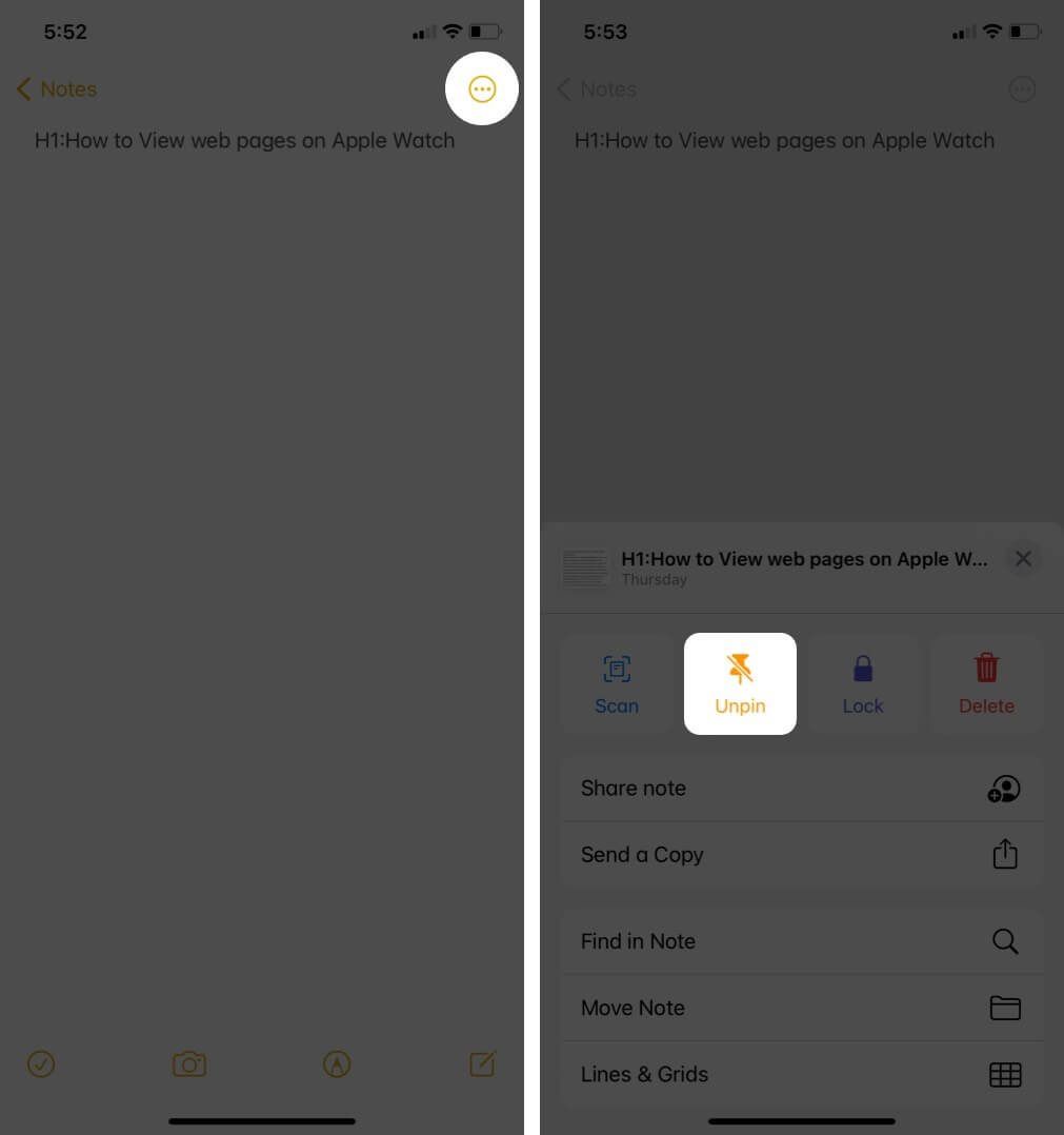 Tap on Ellipsis Icon and Tap on Pin Icon to Unpin Note in Notes App on iPhone