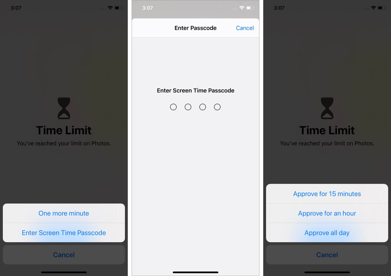 tap on enter screen time passcode and select time to unlock apps on iphone