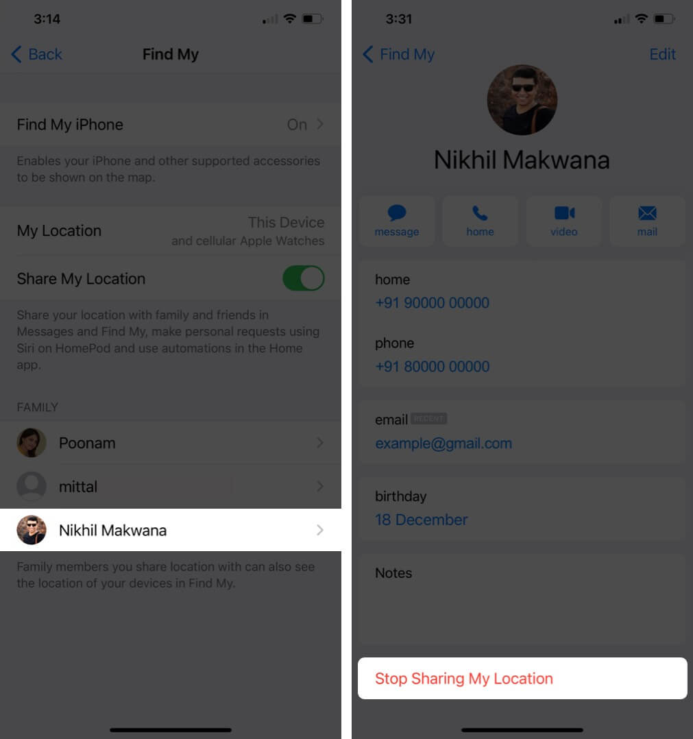 Tap on Family Member and Then Tap on Stop Sharing My Location to Disable Location Sharing Through Family Sharing on iPhone
