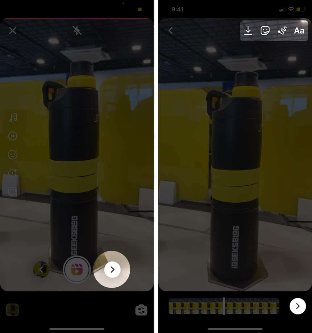 tap on forward arrow make changes if you want and then tap on forward arrow againg