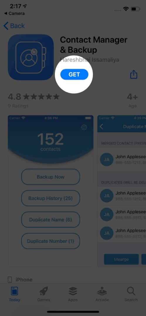 tap on get to download duplication contact remover from app store on iphone