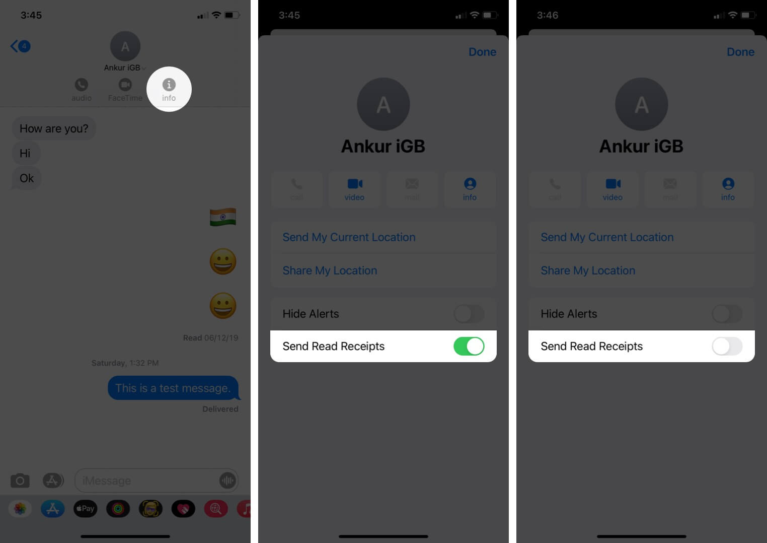 tap on info and disable imessage read receipts for certain contacts on iphone