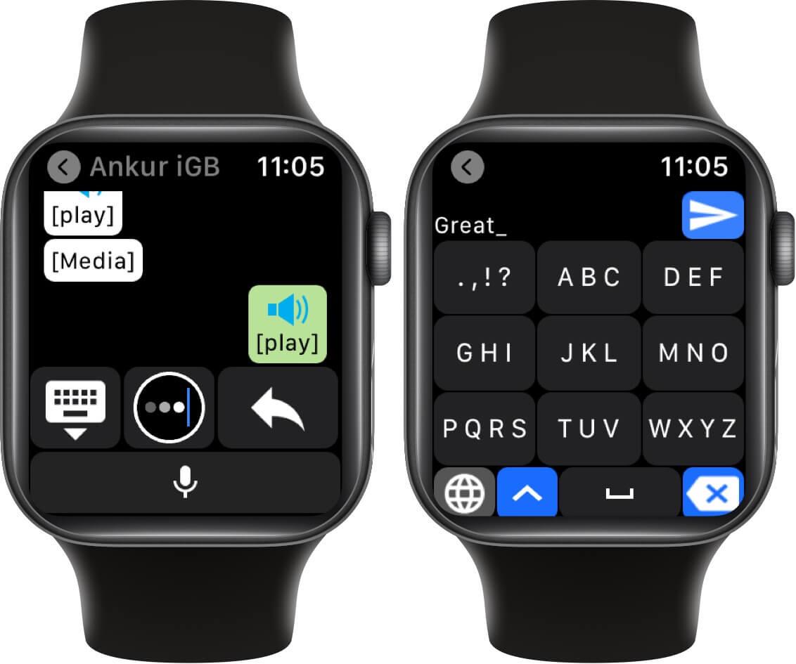 tap on keyboard icon to open t9 style keyboard on apple watch