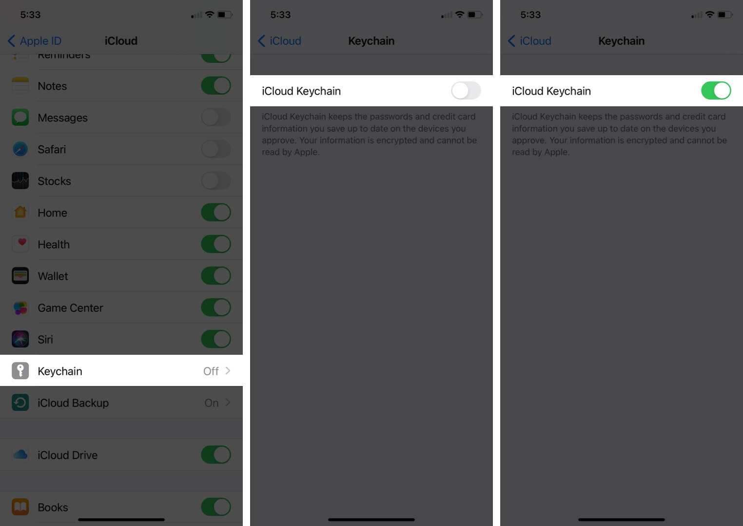 tap on keychain and turn on icloud keychain on iphone