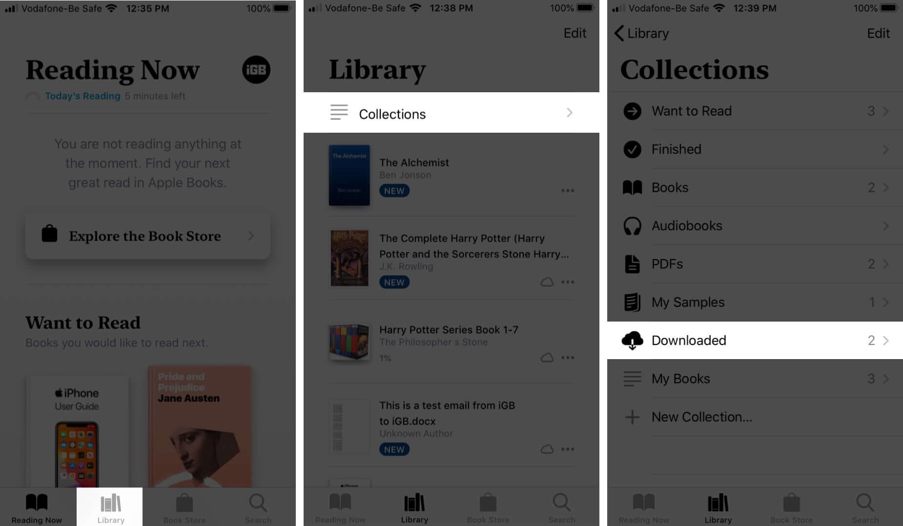 tap on library collections and downloaded in books app on iphone