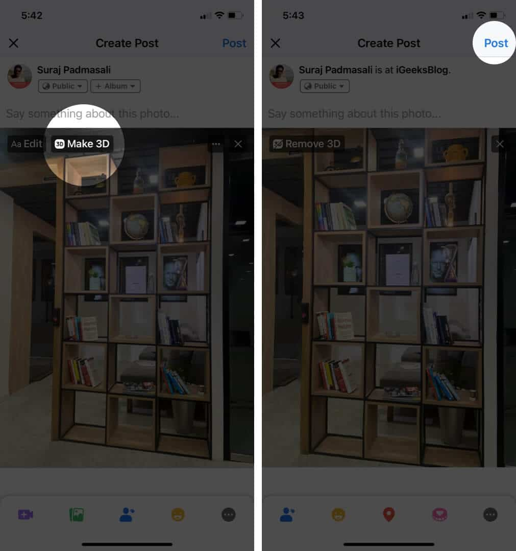 Tap on Make 3d to Convert Image into 3d to Post Live Photo on Facebook from Your iPhone