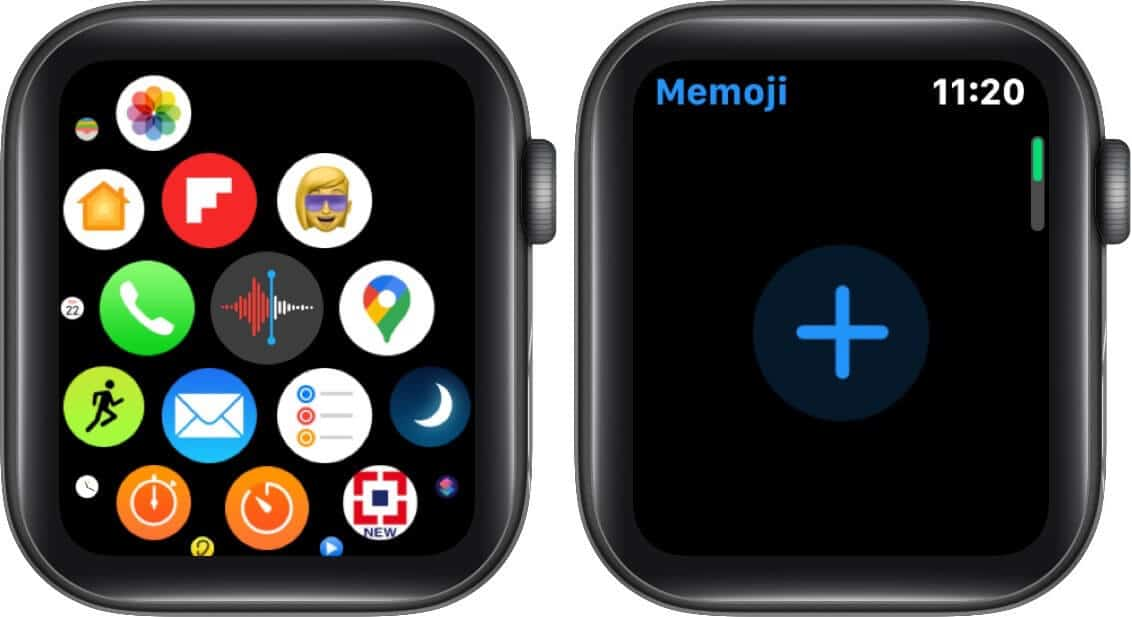tap on memoji app and then tap on plus on apple watch