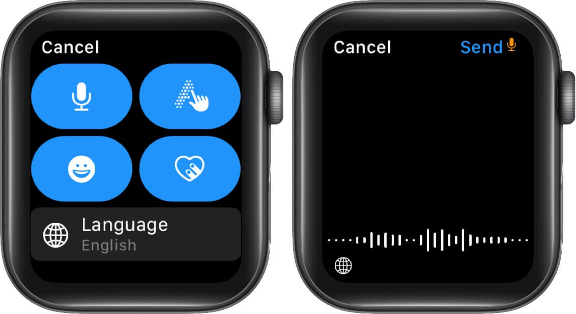 Tap on Microphone Icon and Then Tap on Globe Icon on Apple Watch
