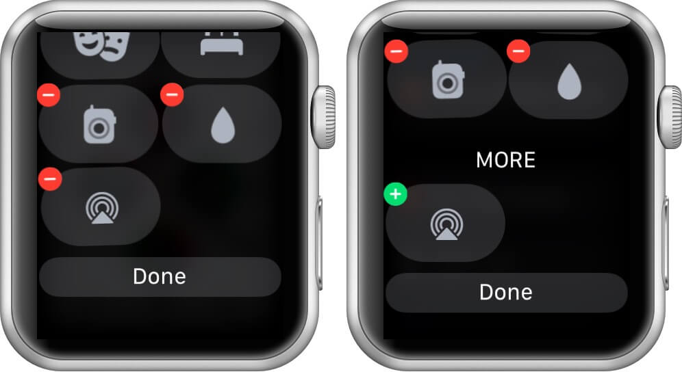 tap on minus and tap on done to remove control center toggles on apple watch running watchos 7