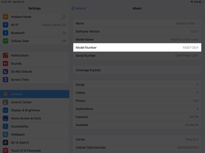 Tap on Model Number in iPad Settings