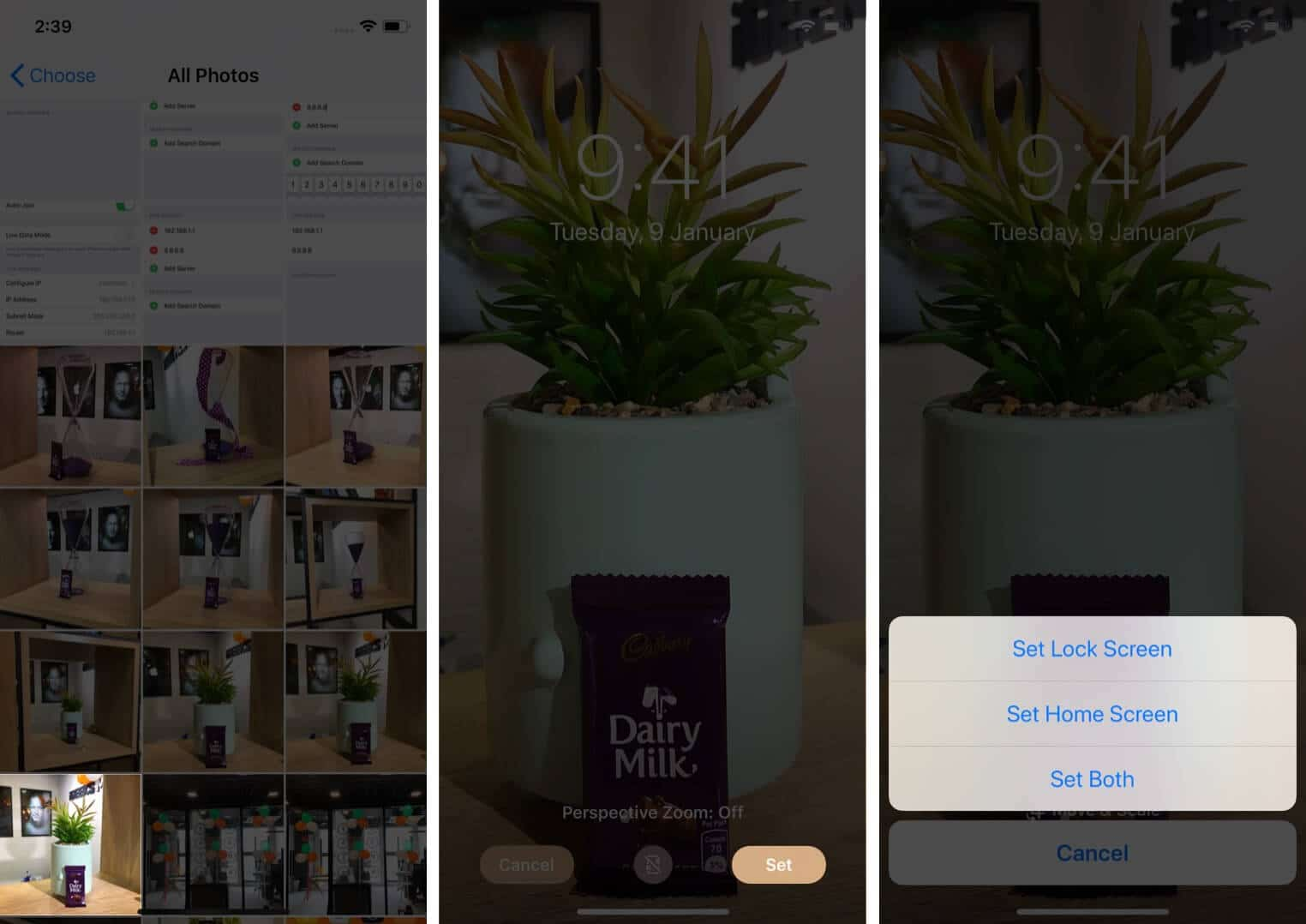 tap on photo then tap on set and select option to change wallpaper on iphone
