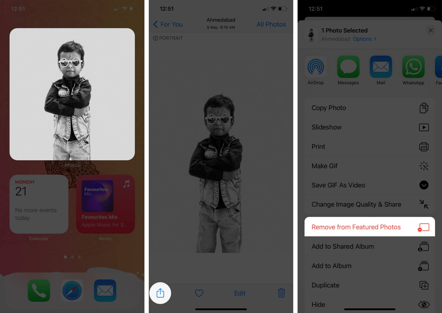 tap on photos widget and tap on share then tap on remove from featured photos on iphone