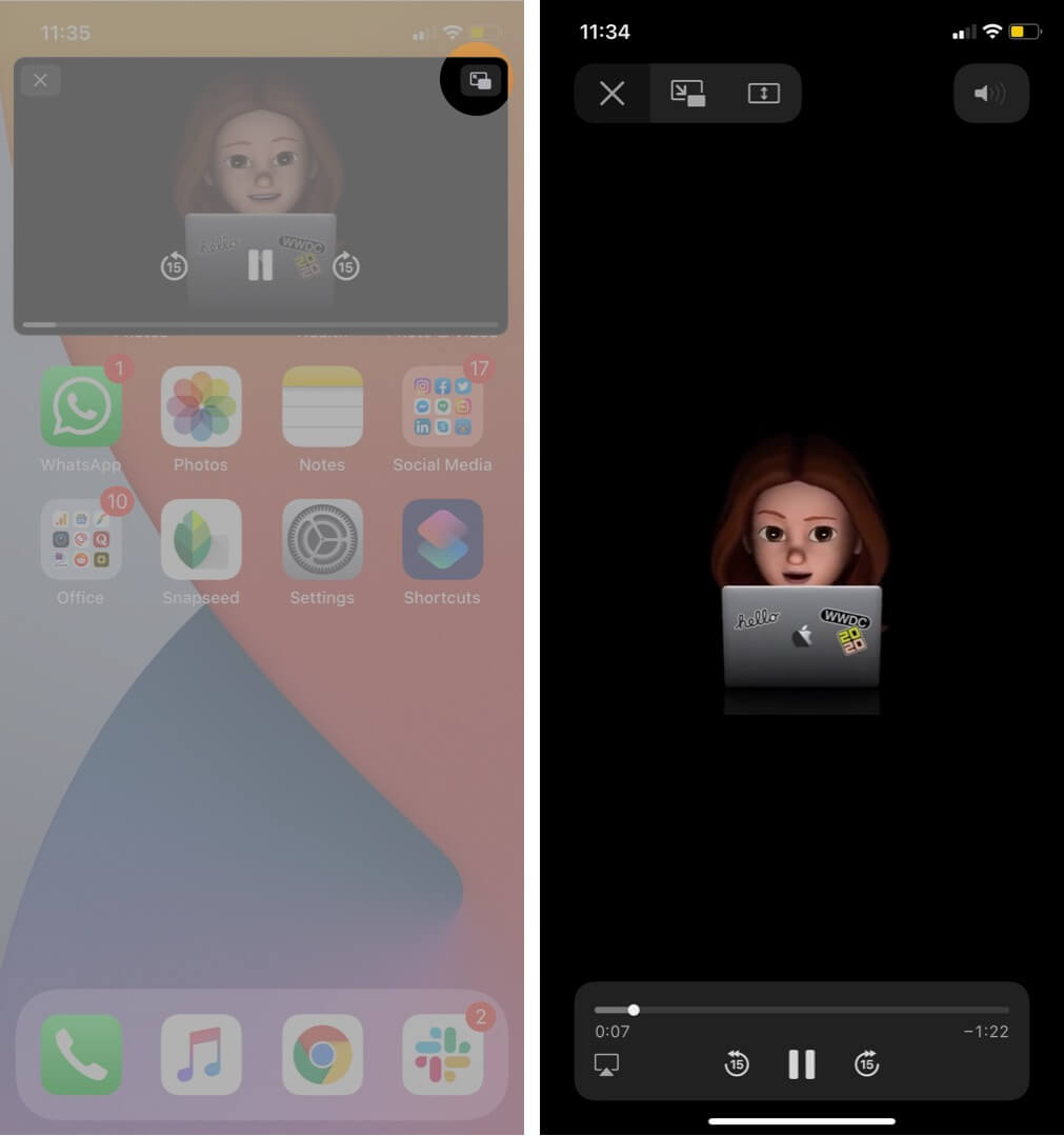 tap on pip mode icon to go back to full screen mode in youtube video on iphone