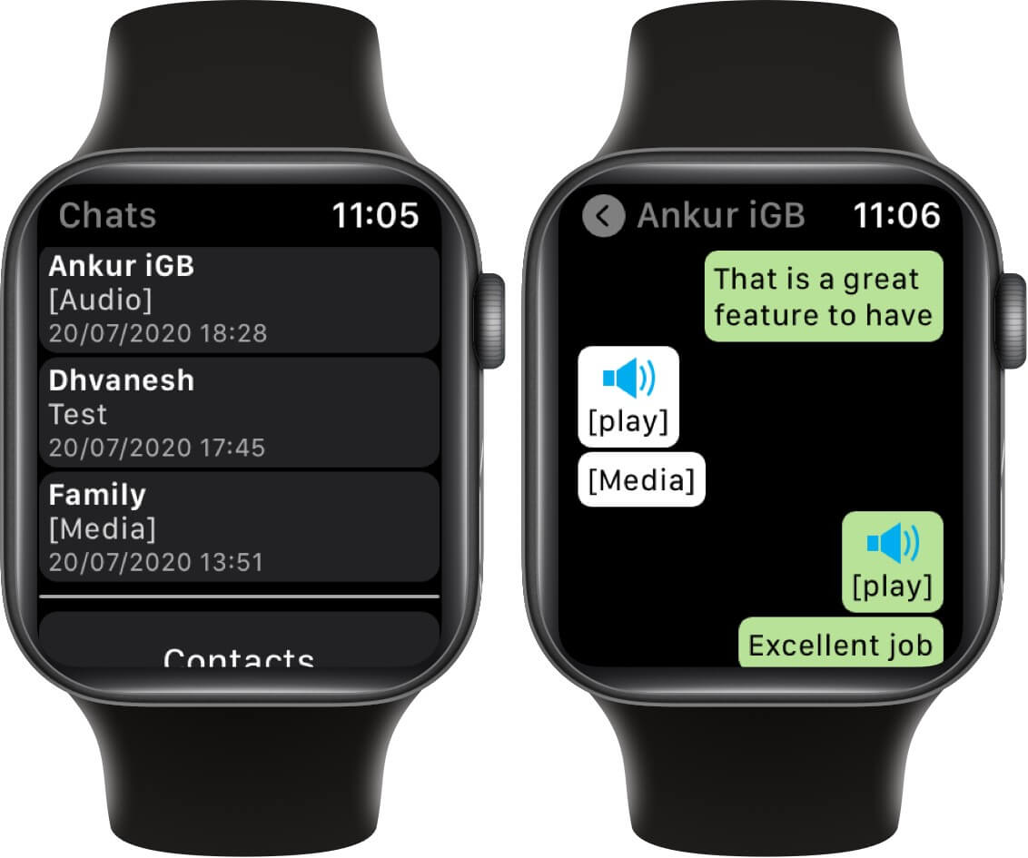 tap on play to listen to whatsapp voice messages on apple watch