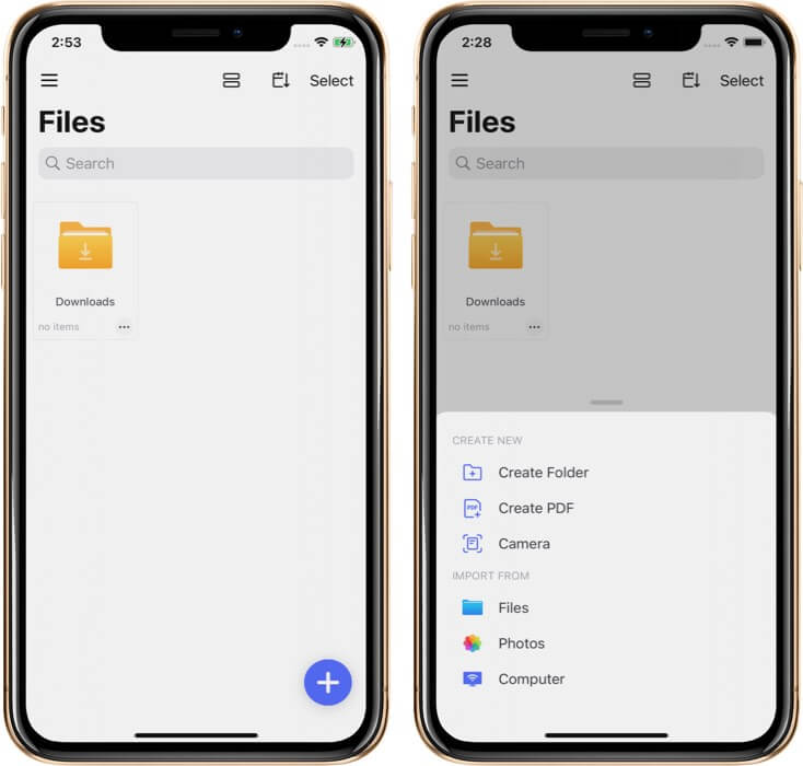 Tap on Plus and Select Preferred Option in PDFelement Pro on iPhone