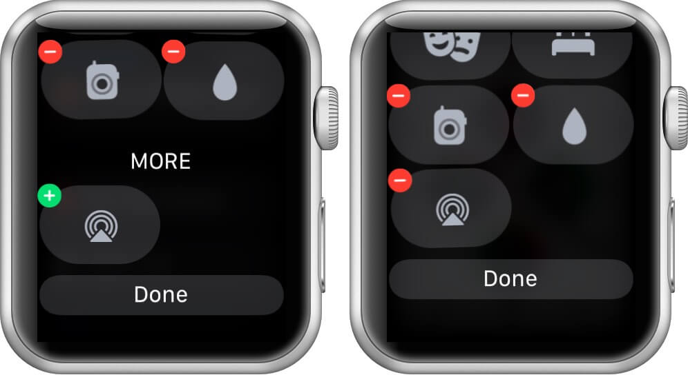 tap on plus and then tap done to add control center toggles in watchos 7