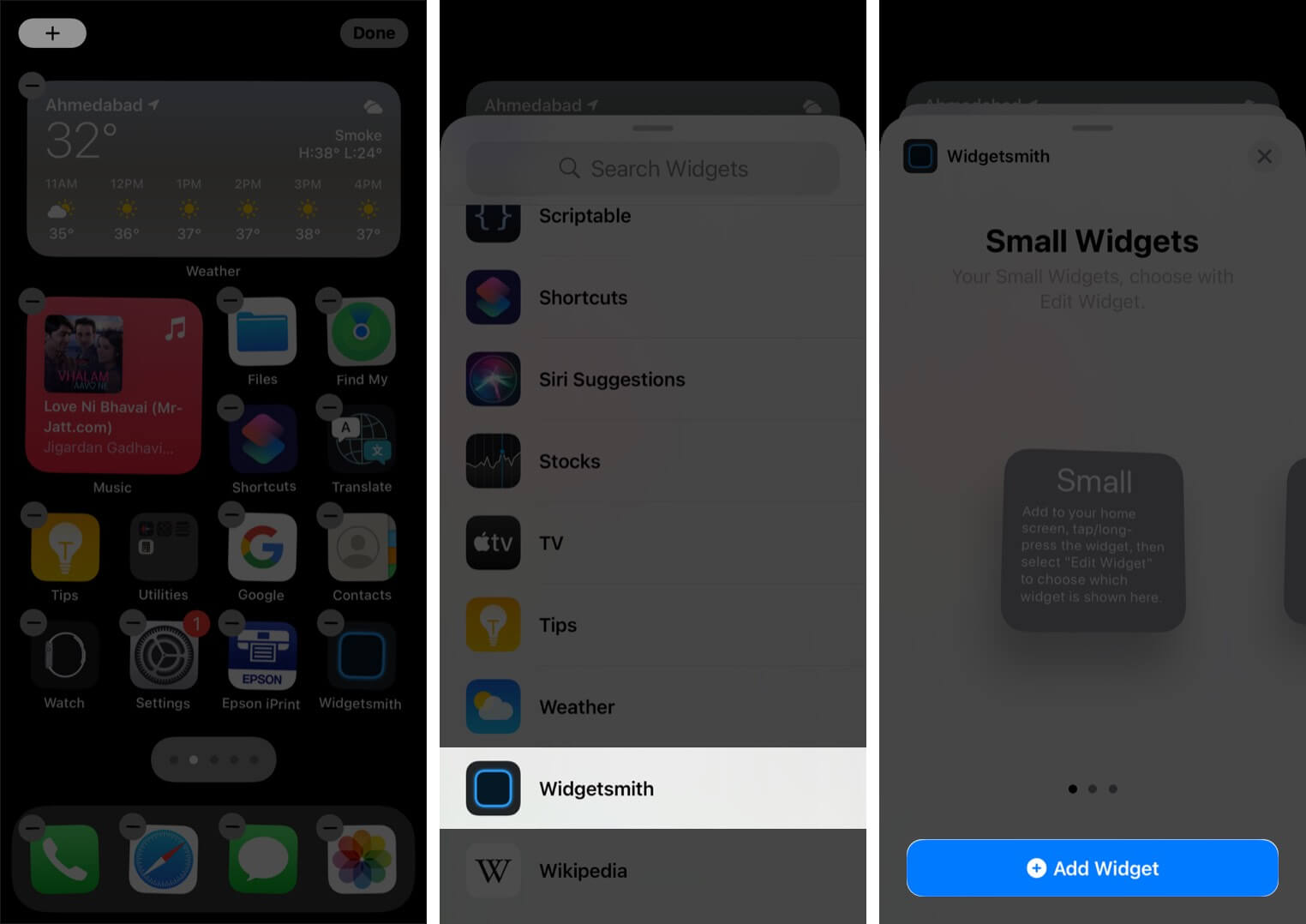 Tap on Plus in iPhone Home Screen Select Widgetsmith and then Tap on Add Widget