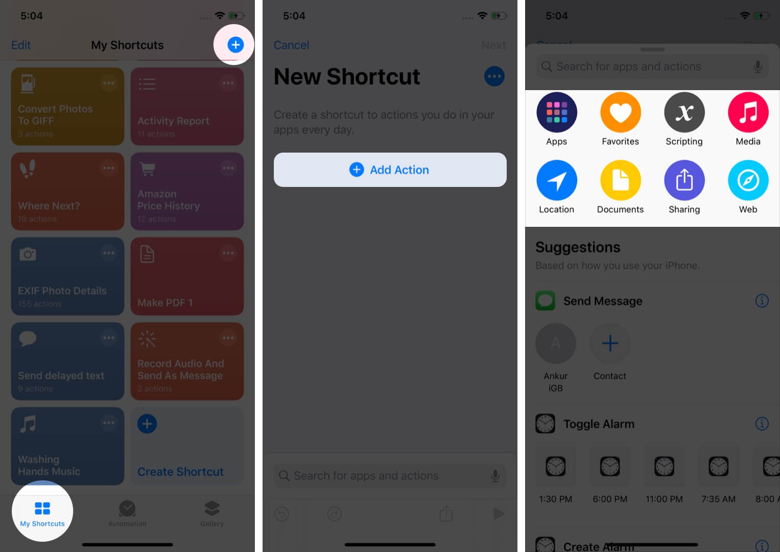 tap on plus in my shortcuts tab tap on add action and select option on iphone