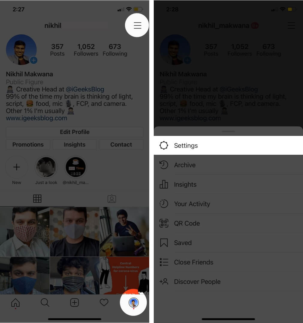 tap on profile and tap on hamburger icon then select settings in instagram app on iphone