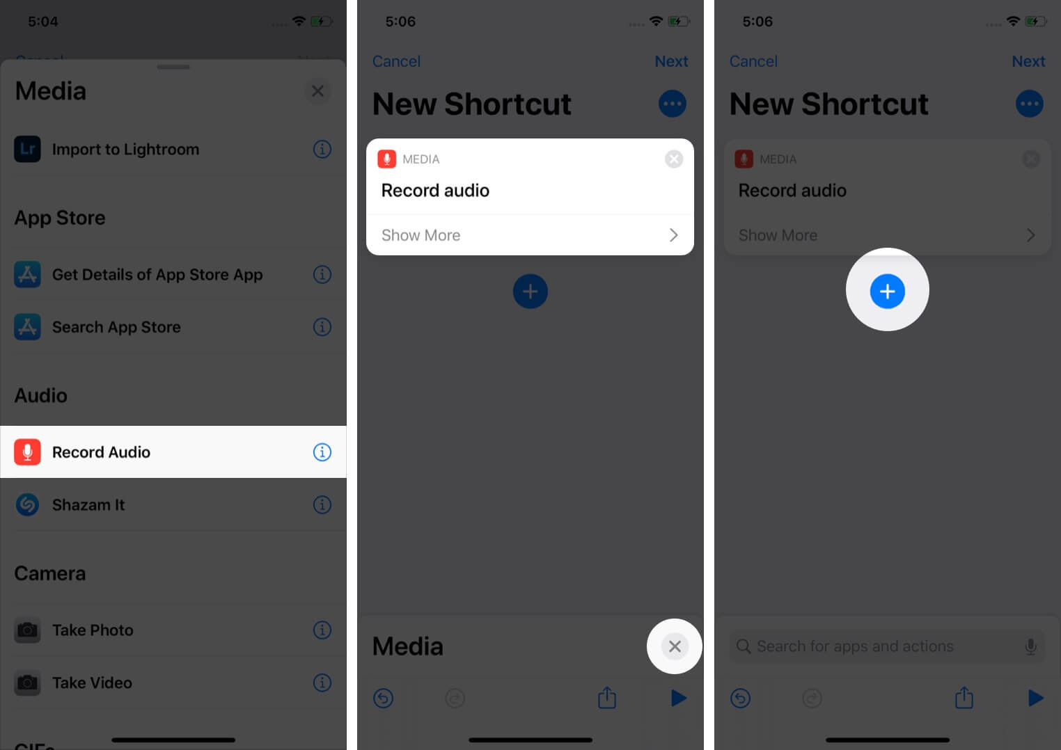 tap on record audio and tap on close then tap on plus