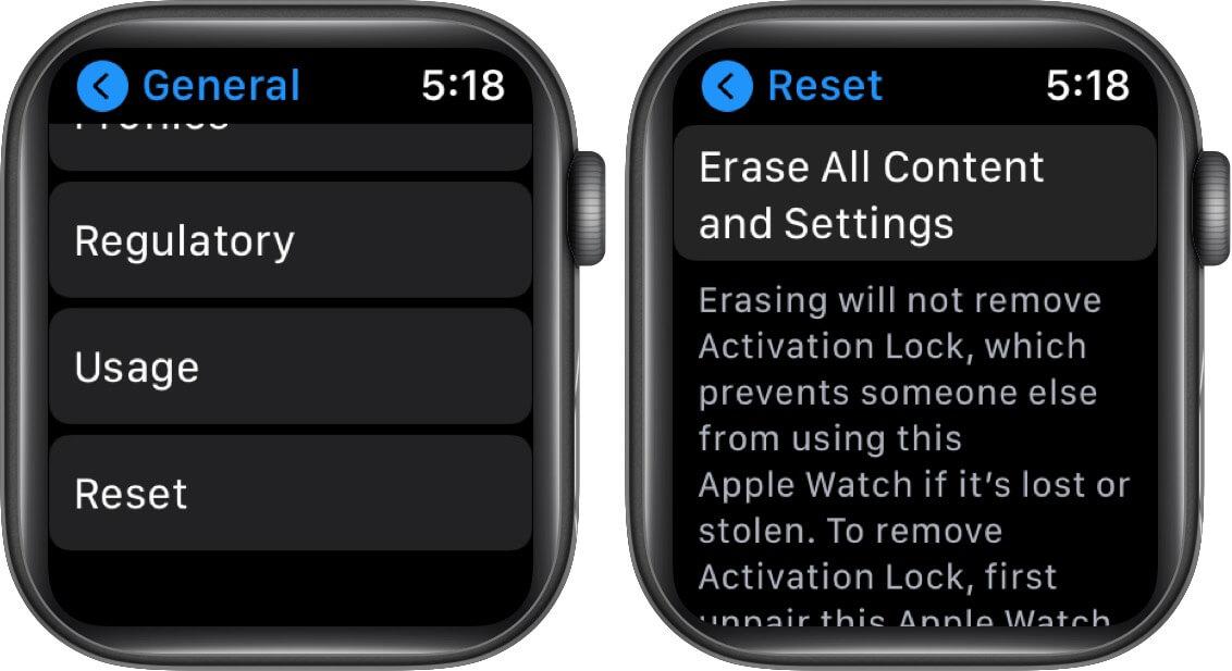 Tippen Sie auf Zurücksetzen und anschließend auf Alle Inhalte und Einstellungen löschen, um die Apple Watch auf die Werkseinstellungen zurückzusetzen