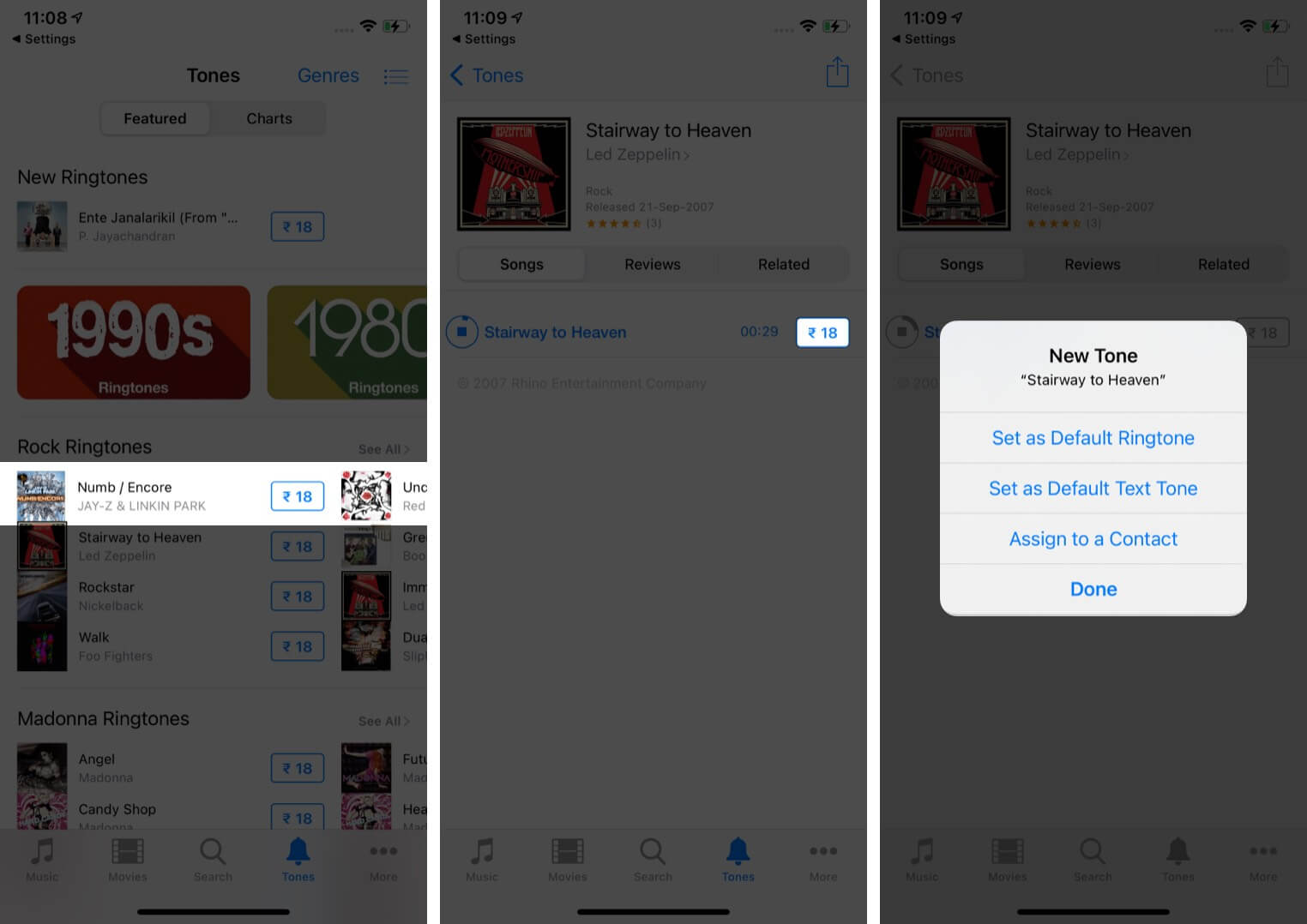 Tap on Ringtone and Tap on Price Then Tap on Done in iTunes Store on iPhone