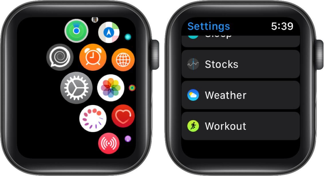 tap on settings and then tap on workout on apple watch