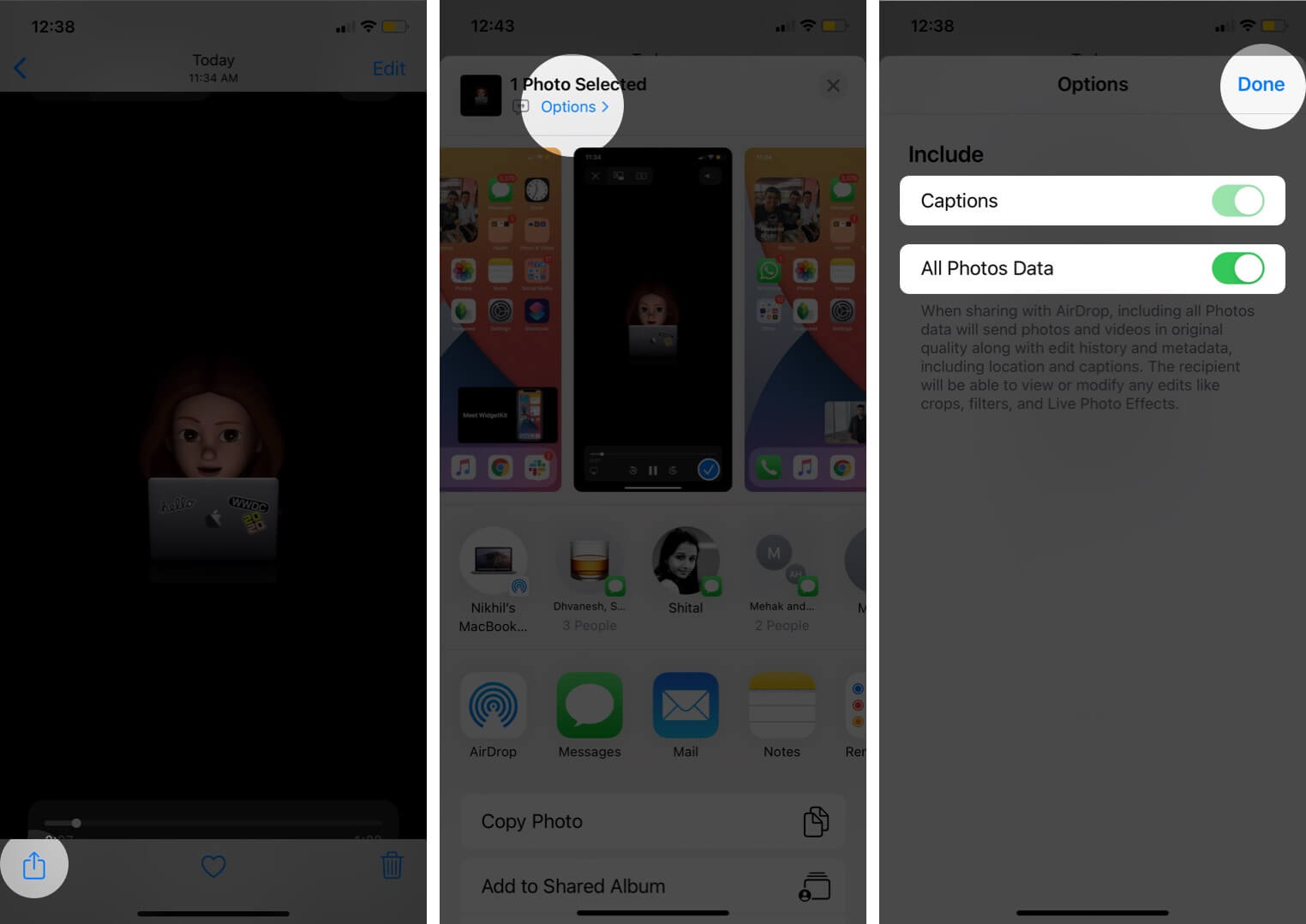 tap on share and tap on options to check captions and photos data is enabled