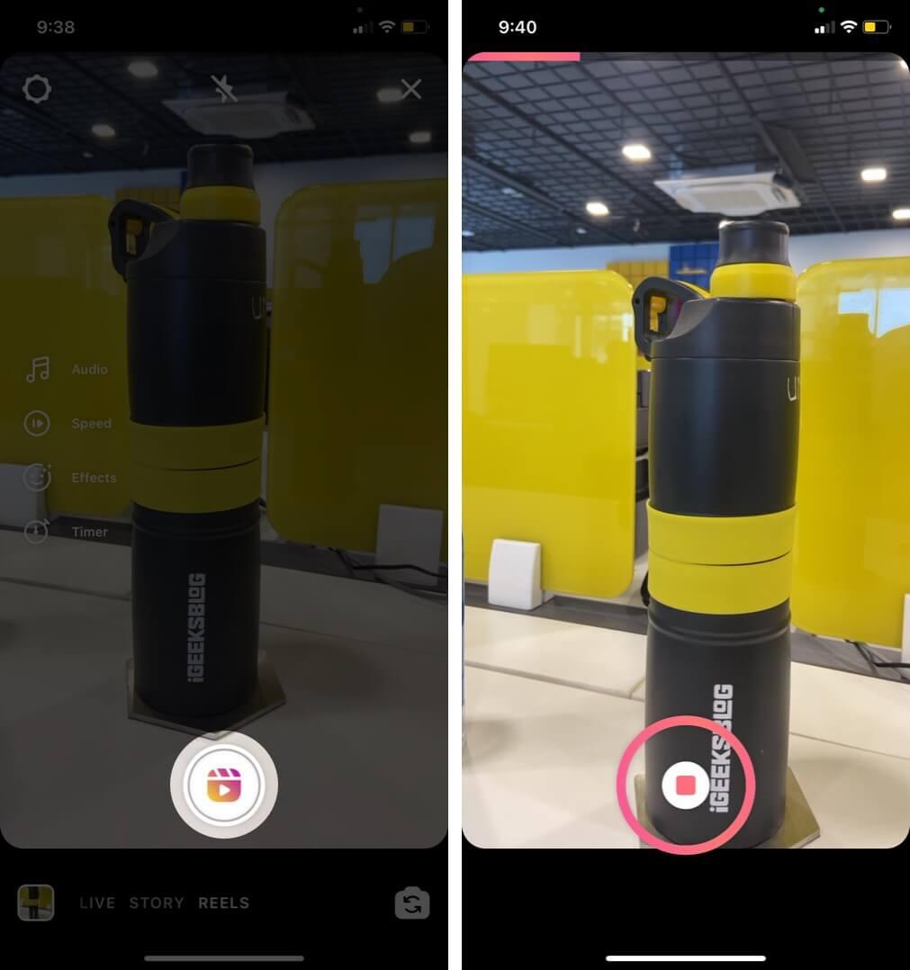 tap on shutter to start video recording in instagram reel