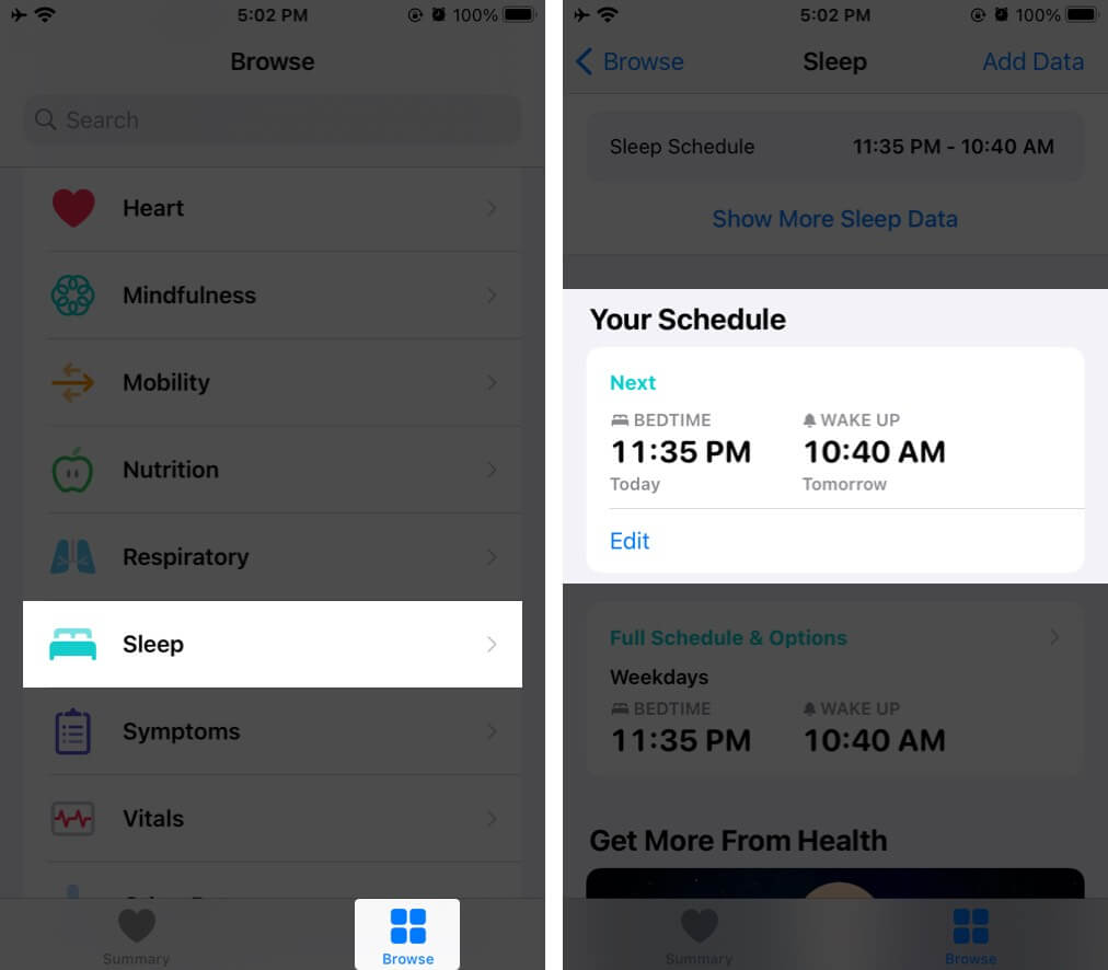 Tap on Sleep in Browse Tab and then Tap on Edit Under Your Schedule in Health App on iPhone