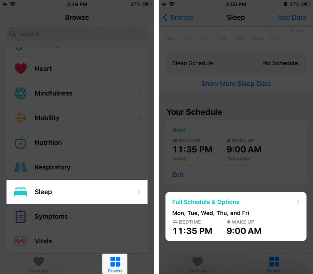 Tap on Sleep in Browse Tab and then tap on Full Schedule & Option on iPhone