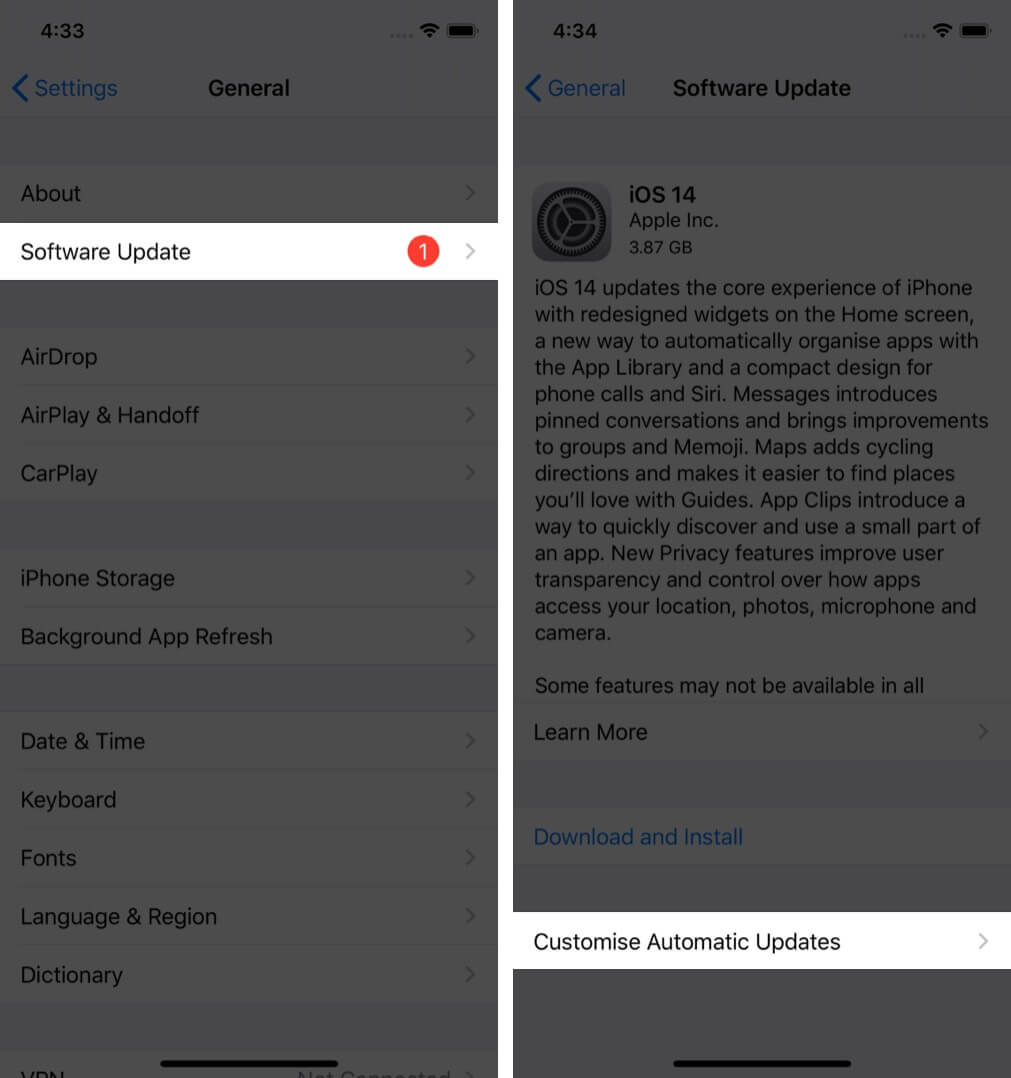 tap on software update and then tap on customise automatic updates on iphone