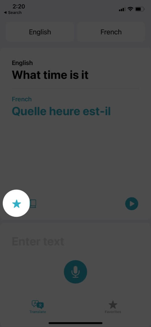 tap on star to favorite particular phrase in translate app on iphone
