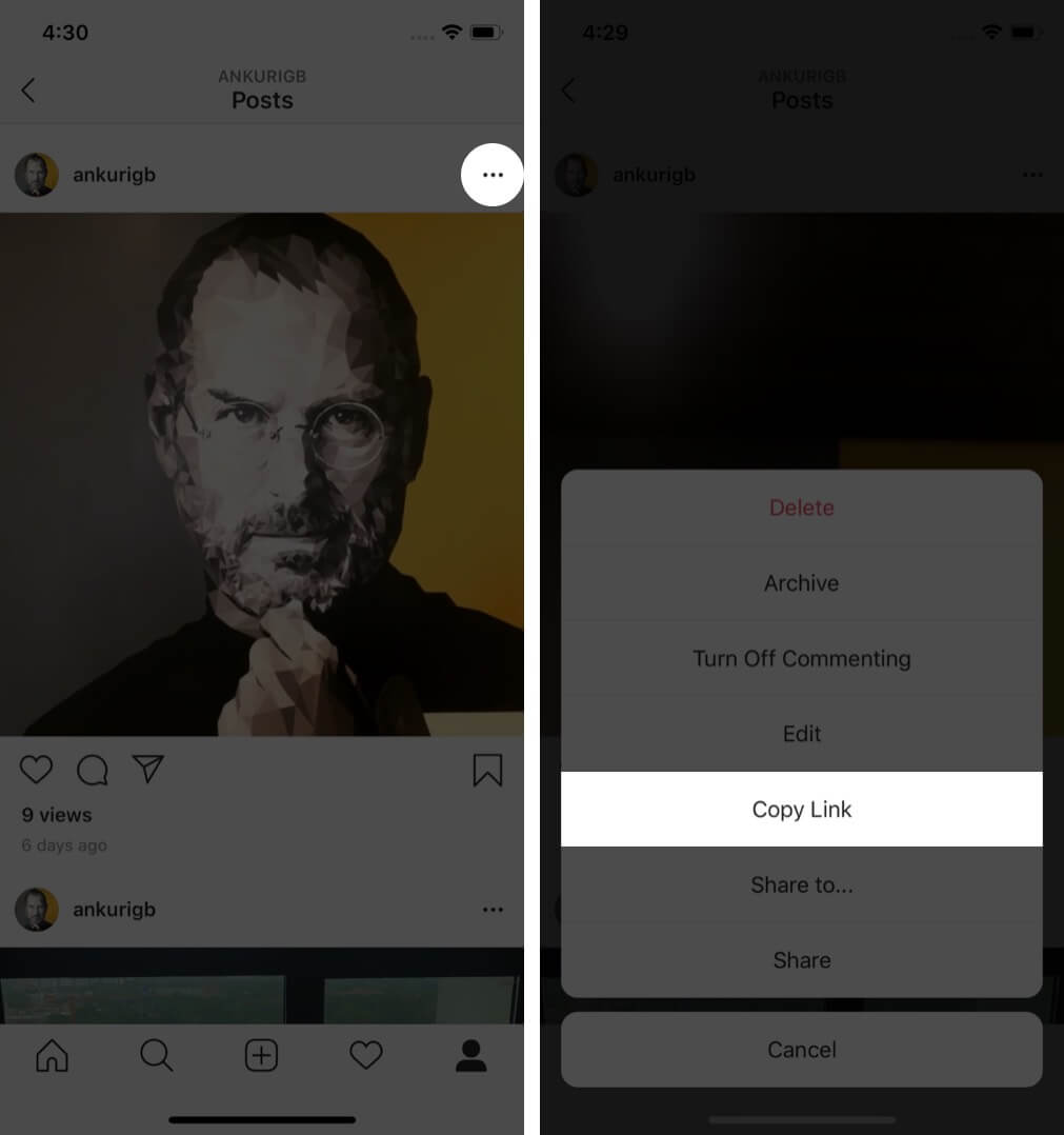 tap on three dots and select copy link in instagram app on iphone