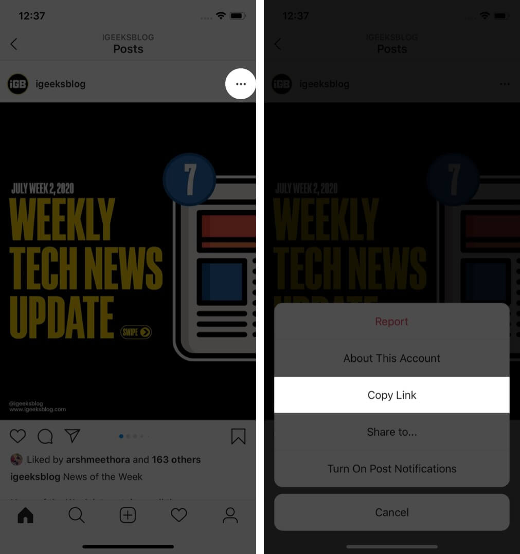 tap on three dots and then tap on copy link in instagram on iphone