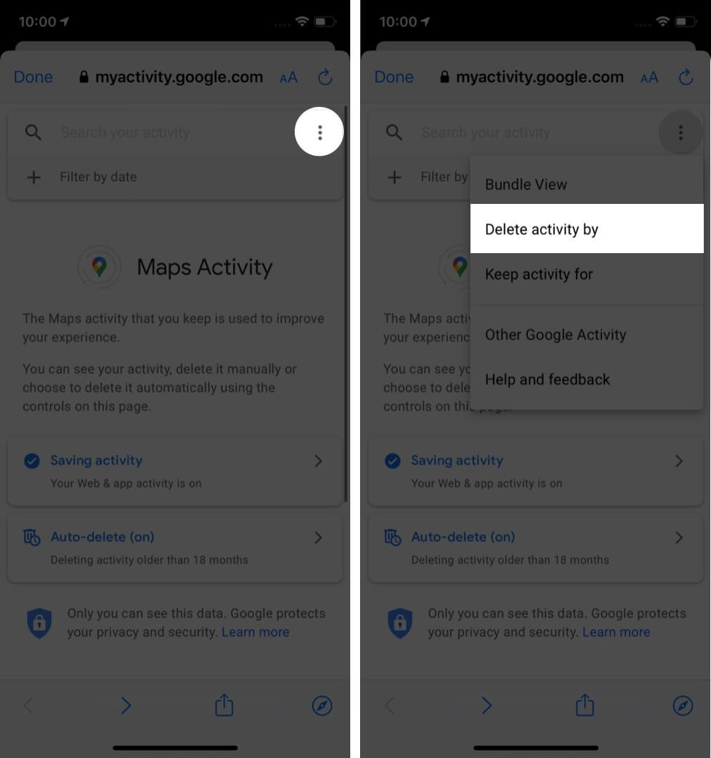 tap on three dots and then tap on delete activity by on iphone