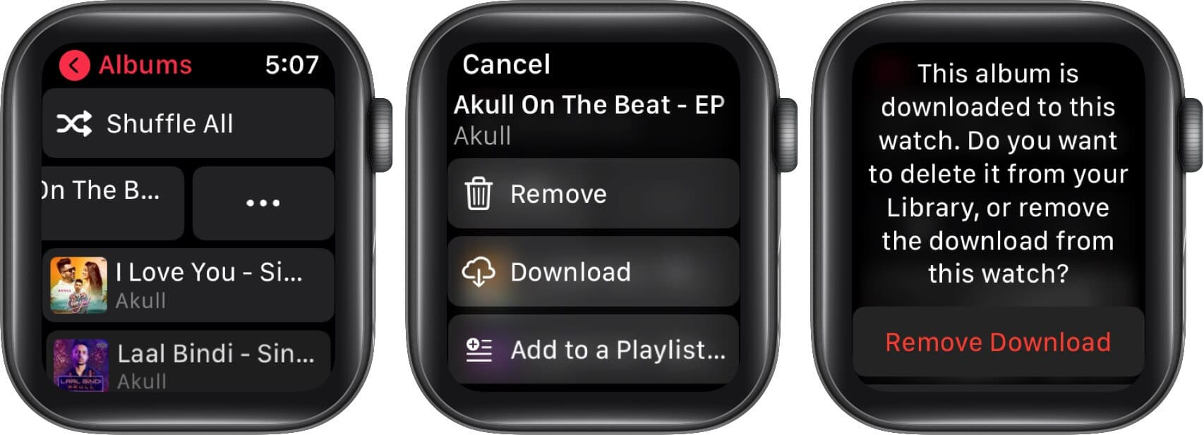 tap on three dots and tap on remove to delete music to free up space in apple watch