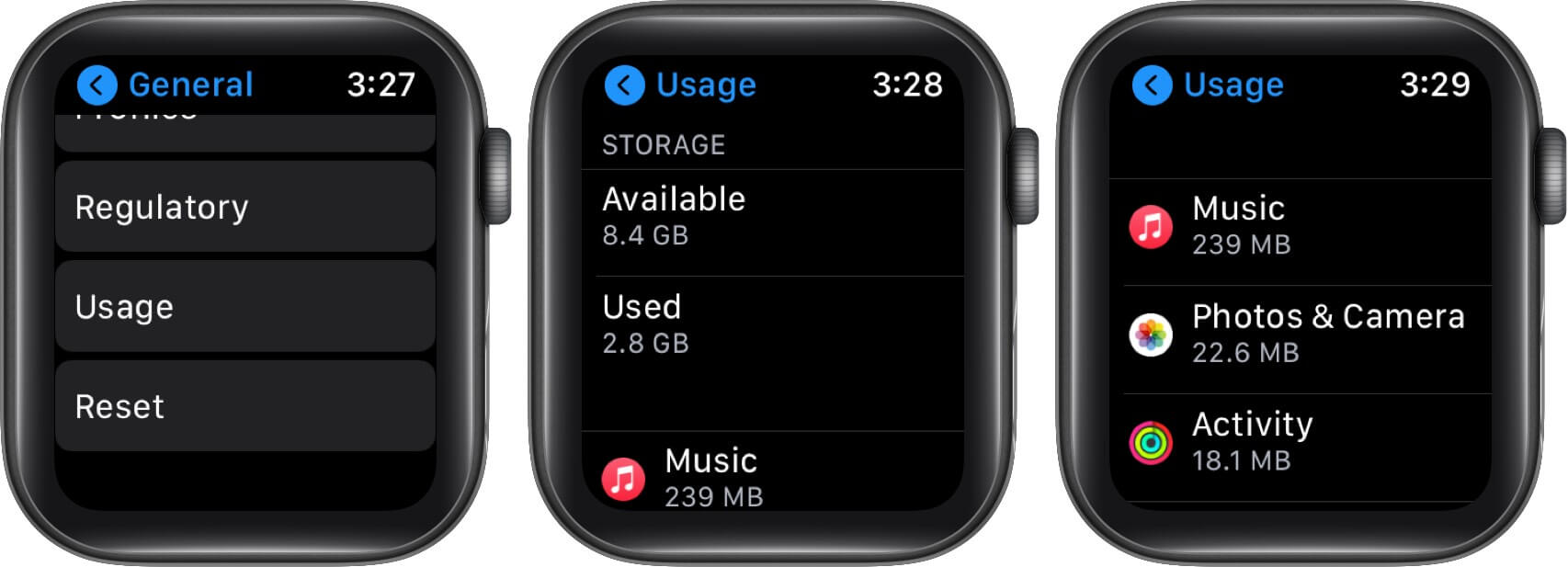 tap on usage to check storage on apple watch