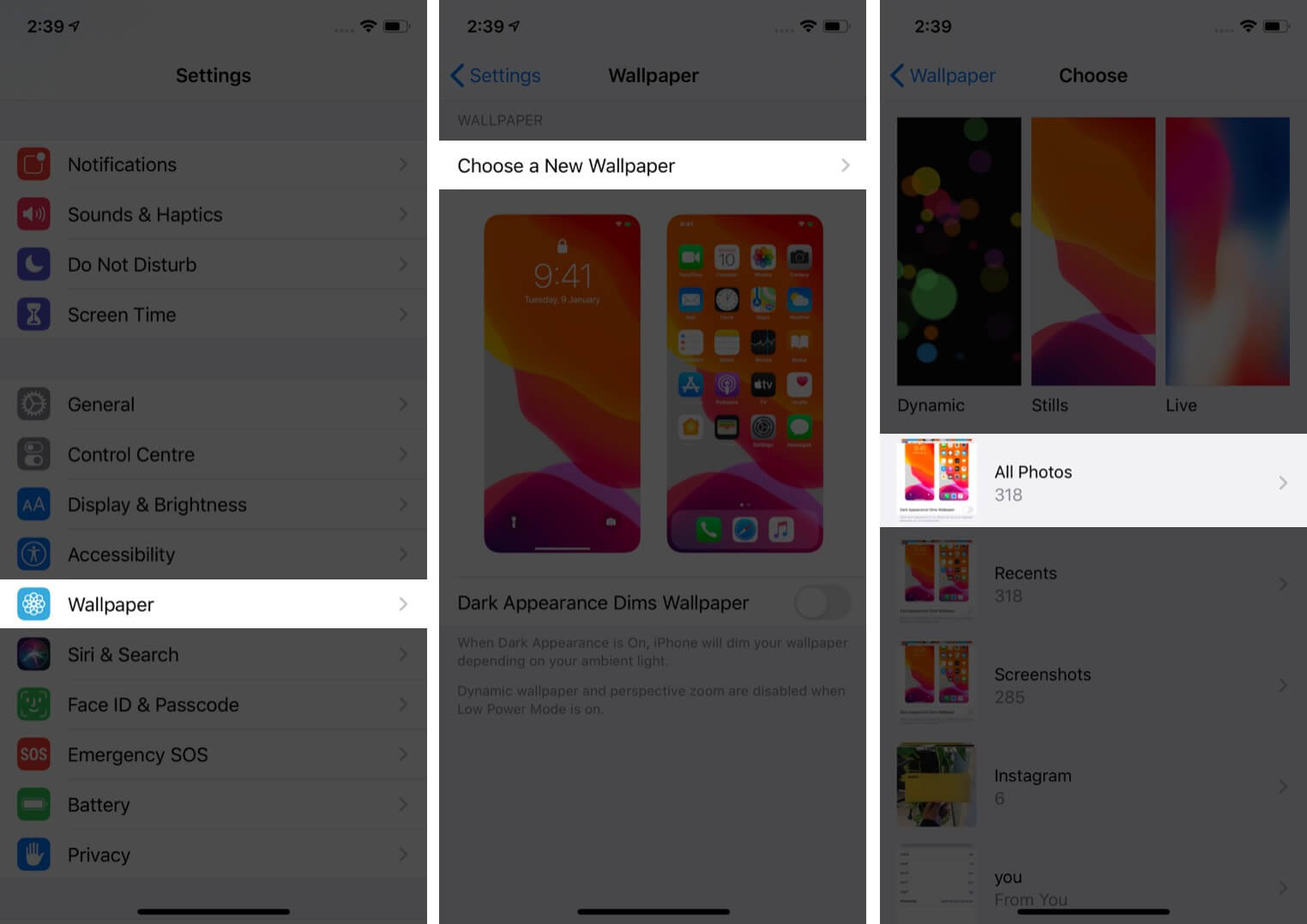 tap on wallpaper and tap on choose a new wallpaper then tap on all photos in iphone settings