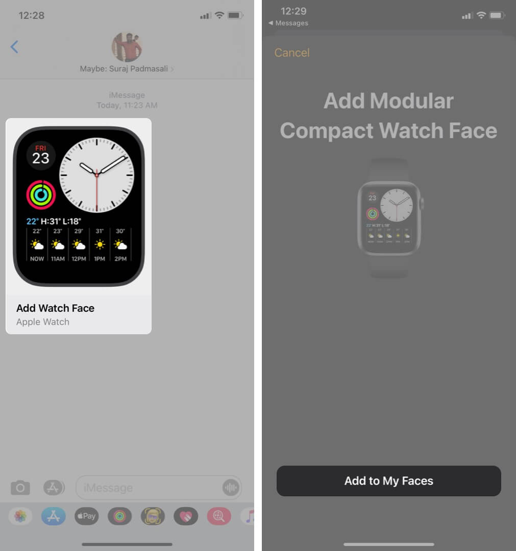tap on watch face in imessage app and then tap on add to my faces on iphone