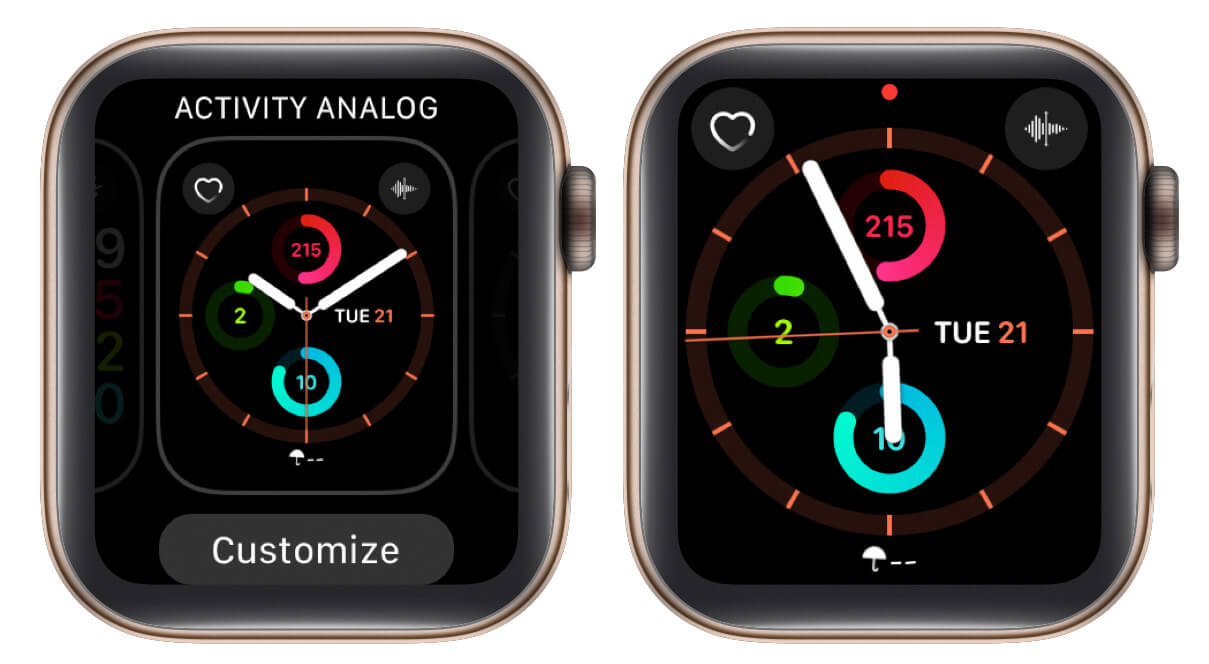 tap on watch face to save changes