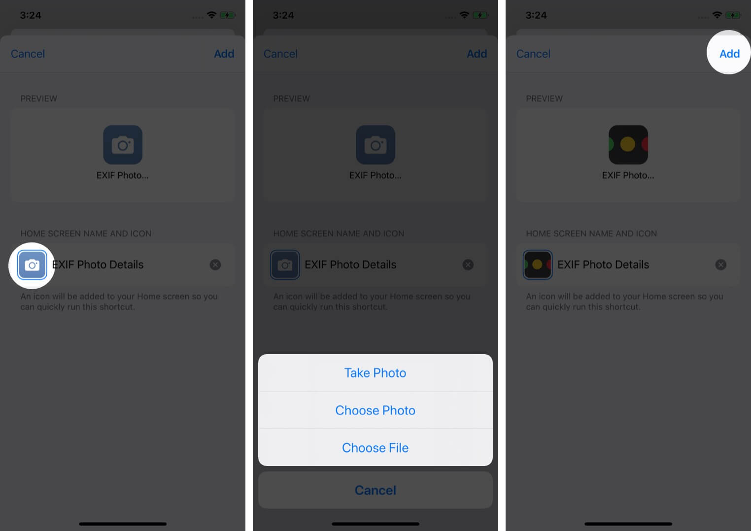 tap shortcut icon select preferred option and tap on add to change siri shortcut icon