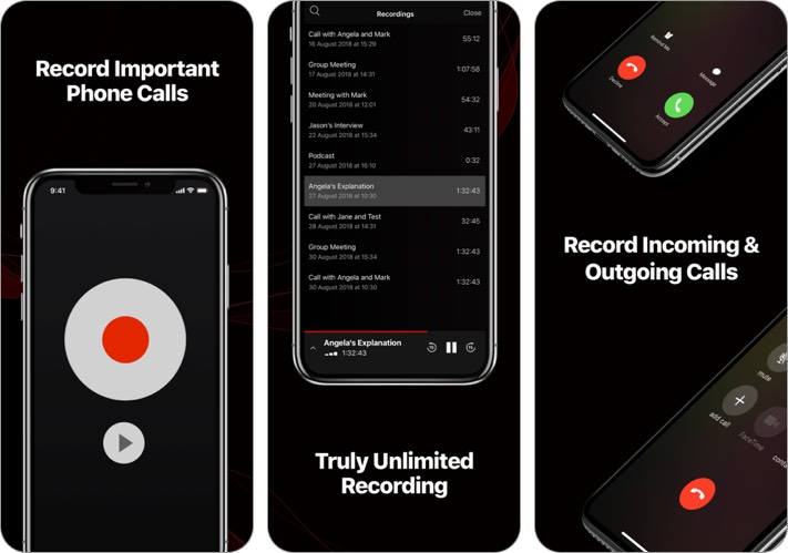 tapeacall iphone app screenshot